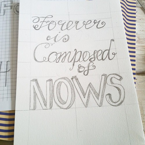 Workshop handlettering @seinfestijn @happymakersblog by @poppyred was really fun! Just need to outline everything in black when I get home. #handlettering #workinprogress #workshop #calligraphy