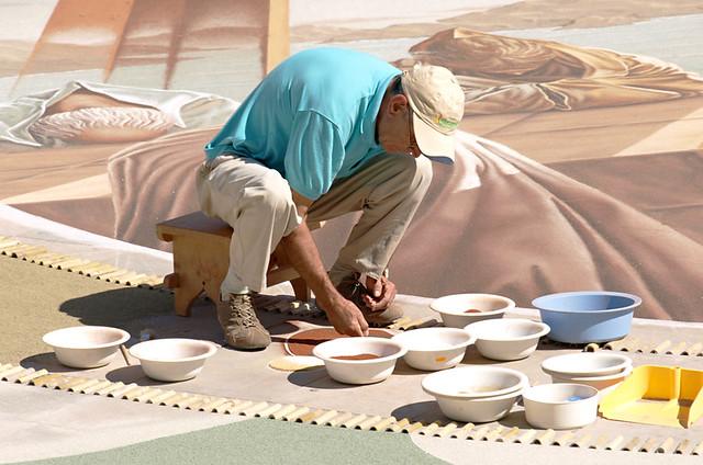 Backbreaking work, Alfombristas at work, Corpus Christi, La Orotava, Tenerife
