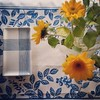 Blue and white patterns with sunflowers, 10/17/16