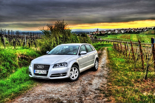 sunset france vineyard a3 dirtroad audi hdr sportwagon alsaceandlorraine