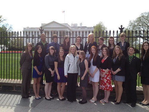 4-H student presenters check out the White House following their meeting.