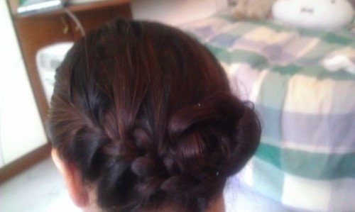 Sideway French braid into bun