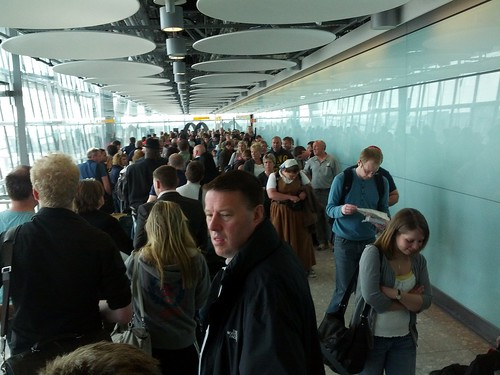London Heathrow Terminal 5 customs queue, LHR5, London, UK