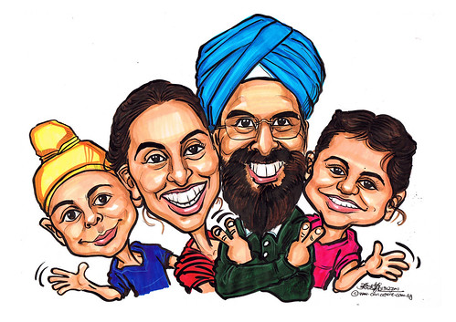 family caricatures in colour 13122011