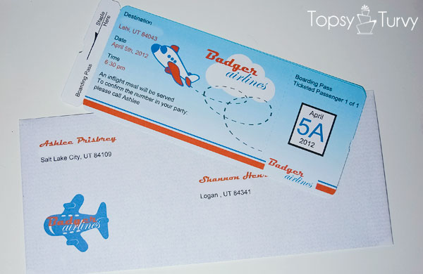 Airplane Ticket Baby Shower Invitation