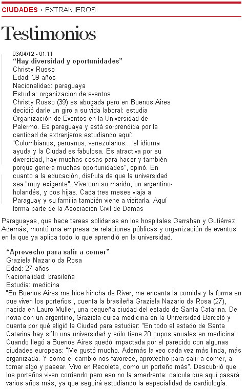 Clarin Extranjeros (Testimonio Alumna Barceló)