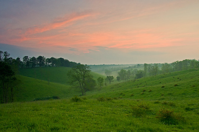 The rolling hills of the Bluegrass in Scott County, KY ...