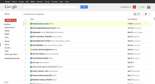 Kuva Google Driven tiedostonäkymästä