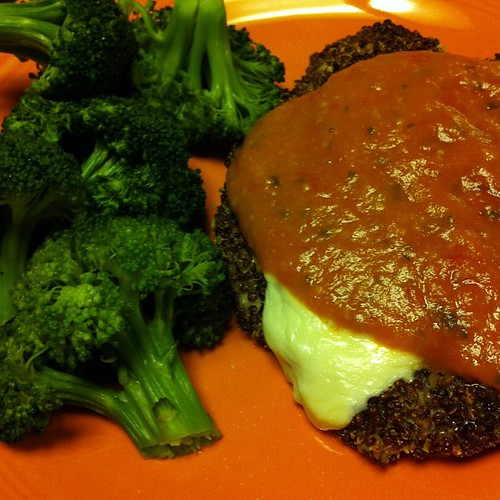 Oven-Baked Quinoa-Crusted Chicken Parm {I used red quinoa...I did not burn the shit out of the chicken} #wfd