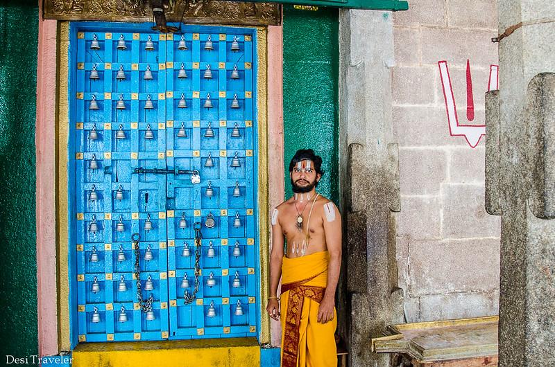 A priest at Sitaram Bagh Temple