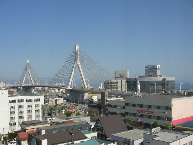 View of Aomori Bay Bridge from my hotel room