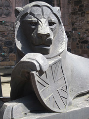 lion statue in front of St. Margeret's Chapel