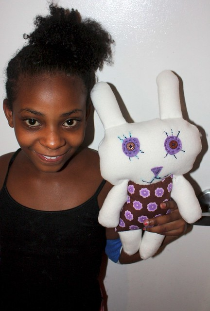 T and her finished bunny doll