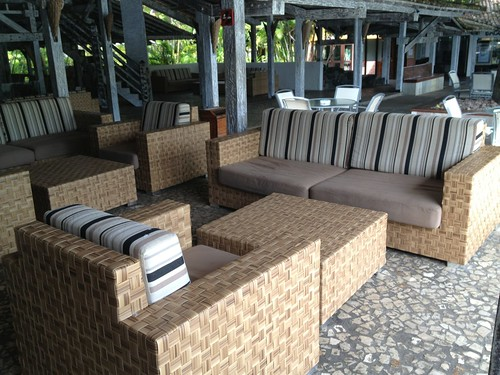 plastic wicker lounging set in modern style