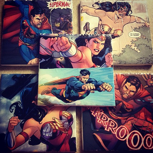 comic coasters by Heather Says