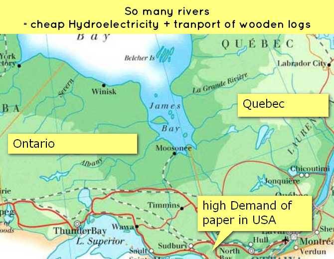 map-canada timber paper industry