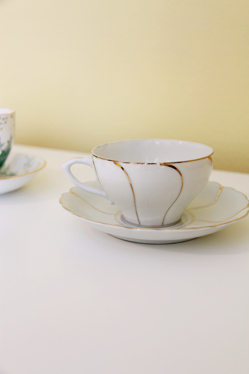 teacups, cute, tea time, pretty, yellow walls, white furniture