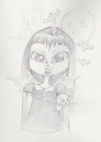 Drawings Vampire Girl by wickeddollz