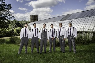 Groomsmen with Barn