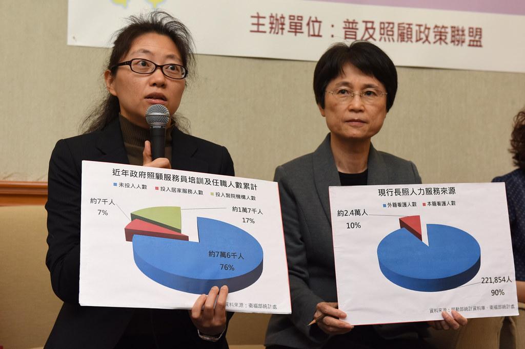 北大社工系助理教授王品(左)認為,輕度失能及一般長者缺乏「預防性支持」,未來失能比例更將提高。(攝影:宋小海)
