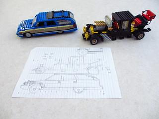 Car design drawings: Buick Roadmaster and The Munster Koach