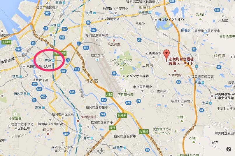博多駅から志免炭鉱までの地図
