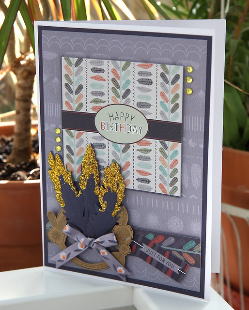 Glittered Feather Owl Folk Card by StickerKitten
