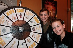 Shawn Horton and Allie Turner with the Prize Wheel at the Liberty Star Mortgage May the 4th Be With You Client Appreciation Party 2016