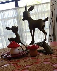 The deer love romping across my new (old)crocheted  tablecloth... #vintagecrochet #antiquecrochet #crochettablecloth #crochetbedspread #thankyoubia!