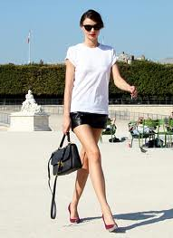 Miranda Kerr Leather Shorts Celebrity Style Fashion