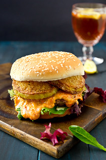 Pimento Cheese Burger with Fried Green Tomatoes