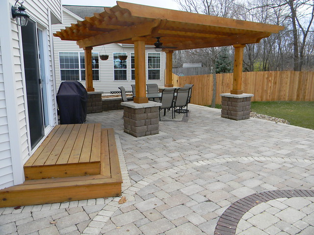 patio with wooden steps and wall flickr photo