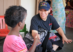 CHENNAI, India (April 9, 2012) Electrician's Mate 1st Class Jessica Henry spends time with a child at the Nirmala Sishu Bhavan Orphanage and home for special children. (U.S. Navy photo by Mass Communication Specialist 3rd Class Christopher Farrington)