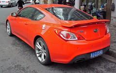 hyundai(0.0), automobile(1.0), automotive exterior(1.0), wheel(1.0), vehicle(1.0), automotive design(1.0), mid-size car(1.0), hyundai genesis coupe(1.0), bumper(1.0), land vehicle(1.0), coupã©(1.0), sports car(1.0),
