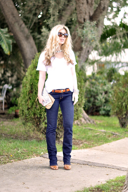 Classic dark wash straight leg jeans and white t-shirt | Flickr - Photo Sharing!