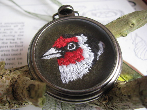 Embroidered Pocket Watch Pendant by Handmade and Heritage