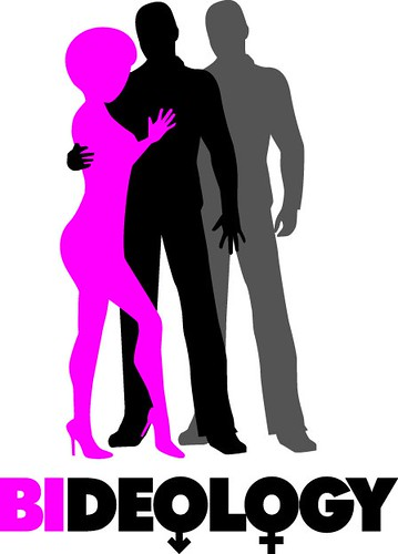"A pink silhouette of a woman has her arms around a black silhouette of a man. The man is touching both the woman and a grey silhouette of another man, standing behind him. The text at the bottom reads ""BIDEOLOGY."" ""BI"" is in pink and ""DEOLOGY"" is in black. The first ""O"" is the Mars symbol, and the second ""O"" is the Venus symbol."