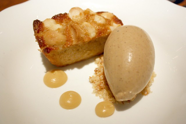 Macadamia and Coconut Brown Butter Cake with Coffee Ice Cream