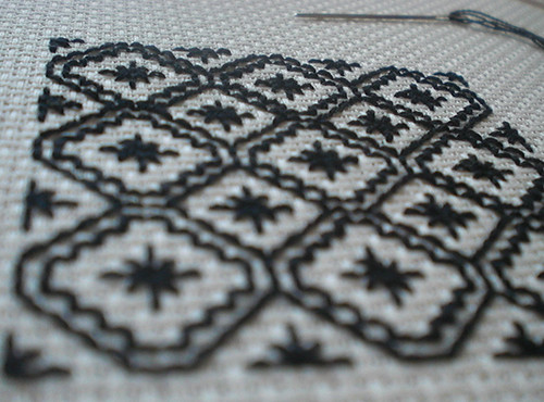 The Making Spot Blackwork stitching