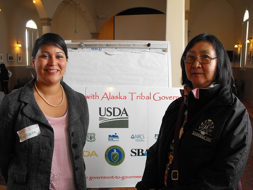 Rose Fosdick of Kawerak, inc. joins Barbara Blake from the Intertribal Agricultural Council at a recent tribal outreach meeting in Nome