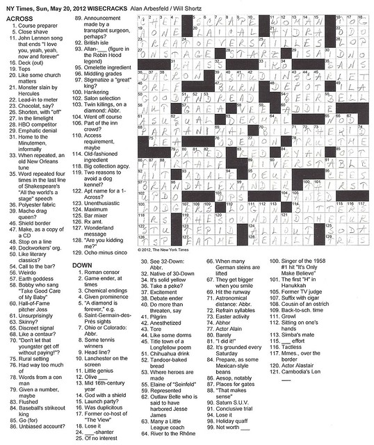 NYT Sunday Puzzle - May 20, 2012