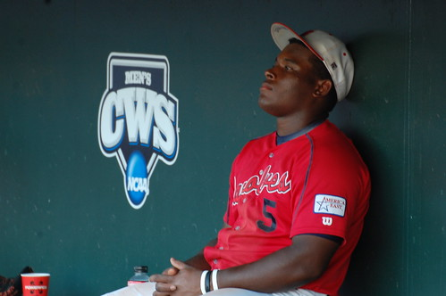 Stony Brook's William Carmona in the dugout following the team's elimination.