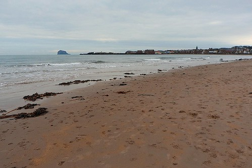 Looking toward the Bass Rock from the beach in North Berwick