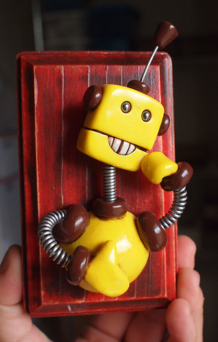 Boredom Yellow Robot 3D Wall Art Sculpture by HerArtSheLoves
