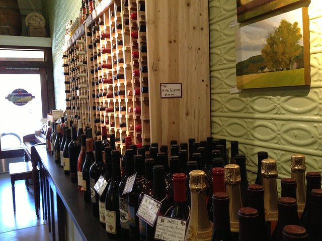Vast wine selection at the Epicurean Connection cafe cheese shop in Sonoma