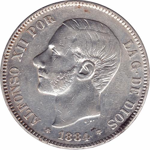 5 Pesetas Alfonso XII 1884 *18 *84 M.S.  M. 8858788033_9141bf212c