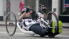 endurance sports(0.0), wheelchair sports(0.0), keirin(0.0), road cycling(0.0), duathlon(0.0), bicycle(0.0), wheel(1.0), vehicle(1.0), sports(1.0), wheelchair racing(1.0), athlete(1.0),