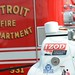 Ed Carpenter's car towed out in front of Detroit fire engines