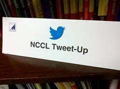 I find it equally hilarious and humbling that @deborahlouisem thought to send me table tents from NCCL2013 tweetup!