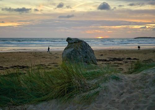 Erdeven Etell, Morbihan, Bretagne, France, sunset beach
